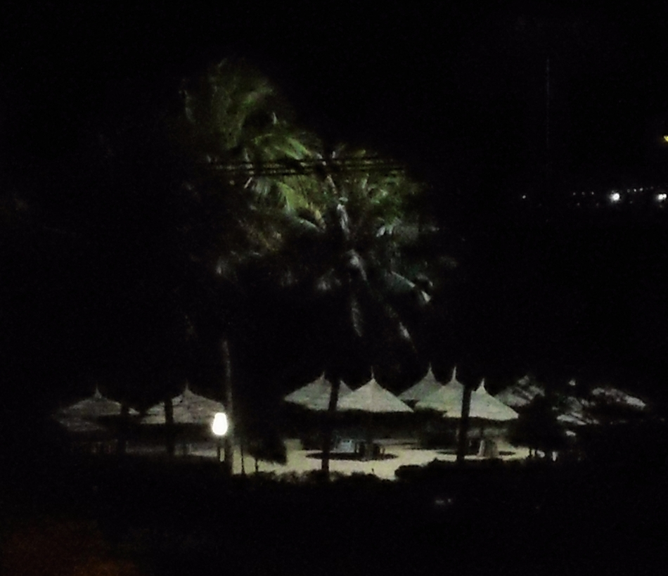 Beach Cabanas at night
